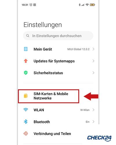 WLAN-Anrufe auf Android-Smartphone aktivieren Schritt 1
