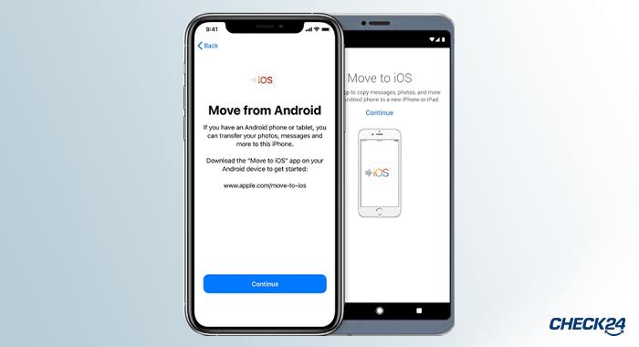 Kontakte übertragen mit move to ios app