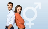Mann und Frau mit Unisexsymbol