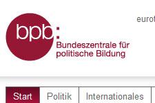 Homepage der Bundeszentrale für politische Bildung