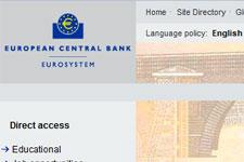 Homepage der Europäischen Zentralbank EZB