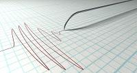 Seismographische Aufzeichnung eines Erdbebens.