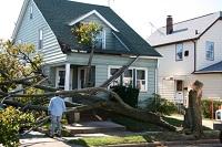 Ein Mann steht vor einem Haus, das von einem entwurzelten Baum schwer beschädigt wurde.