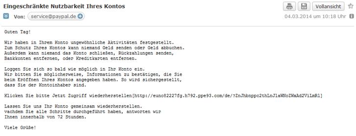 Beispiel einer Phishingmail