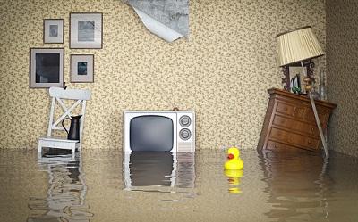 überschwemmte Inneneinrichtung