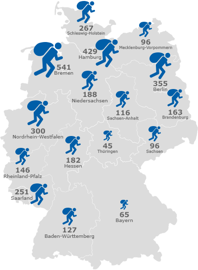 Deutschlandkarte: Anzahl der Wohnungseinbrüche in den einzelnen Bundesländern.