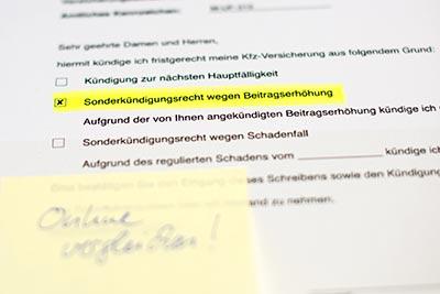 Eine Sonderkündigung ist noch am 30.11. per Fax an den Versicherer möglich.