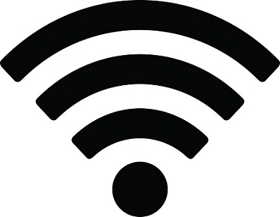 WLAN-Symbol schwarz auf weiß
