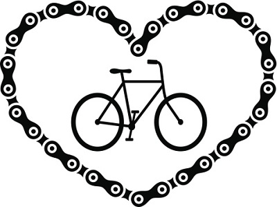 Fahrrad und Schloss in Herzform
