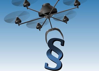 Drohne trägt Paragraphenzeichen