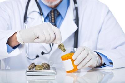Arzt mit Medizinalhanf und Dose