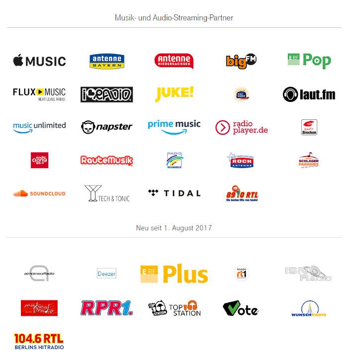 Die Musik-Streaming-Dienste im Telekom-StreamOn-Angebot