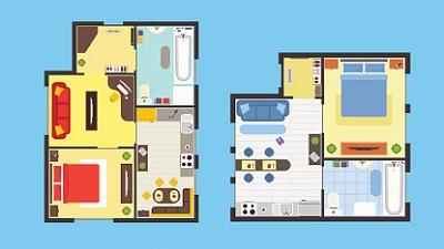 Grundrisse von zwei Wohnungen