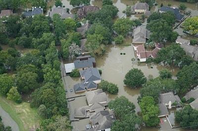 Überschwemmte Wohngegend