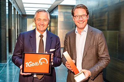 Vodafone-CEO Hannes Ametsreiter mit Bundesminister Andreas Scheuer
