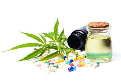 Hanfblätter, Pillen und eine Öldose liegen auf weißem Hintergrund.