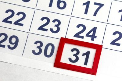 Kalender mit 31. markiert