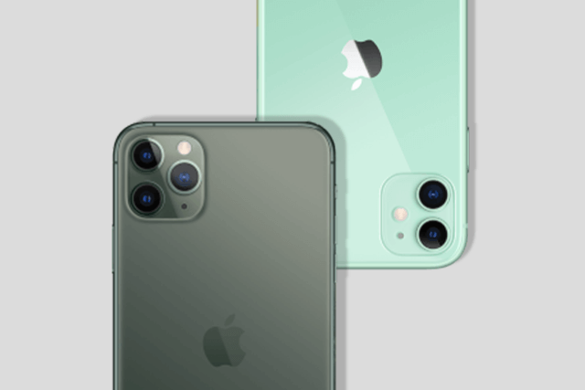 iPhone 11 Pro Max und iPhone 11 in Grün.