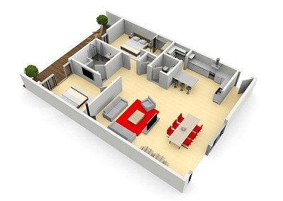 Wohnungsgrundriss in 3D