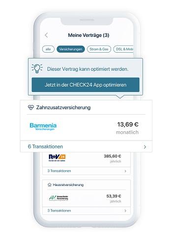 C24 Bank App mit moderner Ausgabenanalyse und Vertragsoptimierung durch künstliche Intelligenz