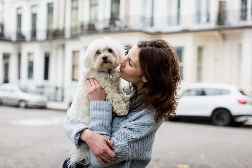 Eine Frau hält einen Hund auf dem Arm, sie stehen auf der Straße einer Stadt.